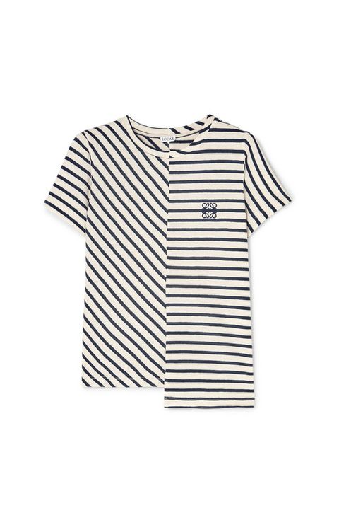 best breton top -Loewe Asymmetric embroidered striped cotton-jersey T-shirt