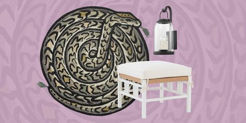 snake rug by justina blakeney for loloi, ottoman by suzanne kasler for hickory chair, and napa sconce by mark d sikes for troy lighting