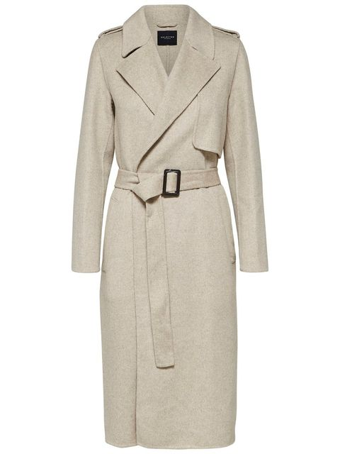 Clothing, Coat, Trench coat, Overcoat, Outerwear, Beige, Sleeve, Robe, Dress, Duster,