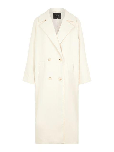 Clothing, White, Outerwear, Coat, White coat, Sleeve, Trench coat, Beige, Collar, Robe,