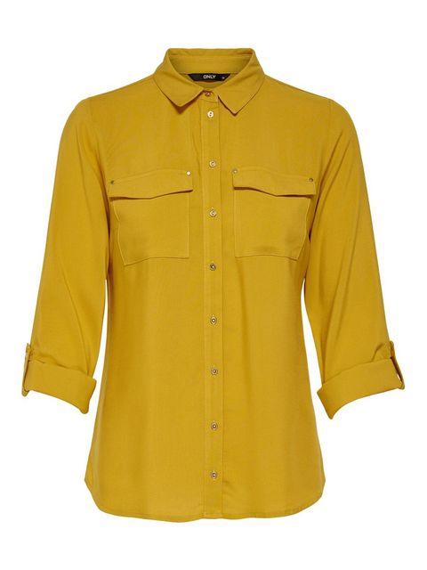 Clothing, Sleeve, Yellow, Shirt, Button, Collar, Blouse, Outerwear, Pocket, Top,