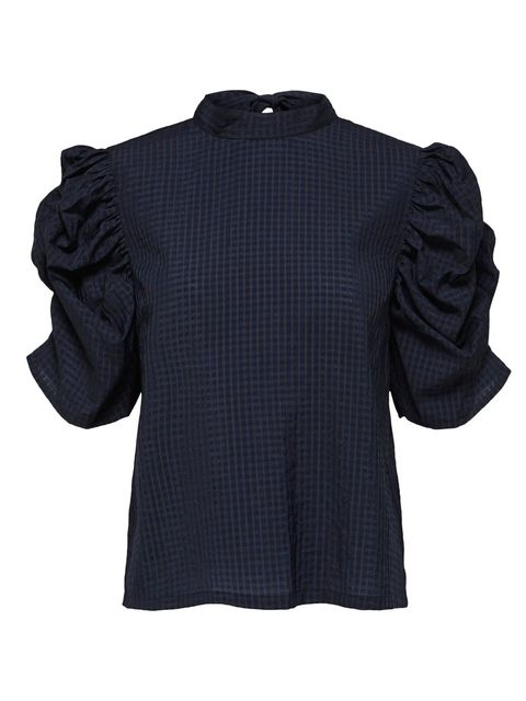 Clothing, Black, Sleeve, Outerwear, Collar, Blouse, Shirt, Top, Pattern, Button,