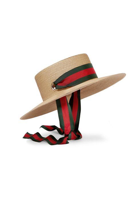 best summer hats- gucciGrosgrain-trimmed raffia hat