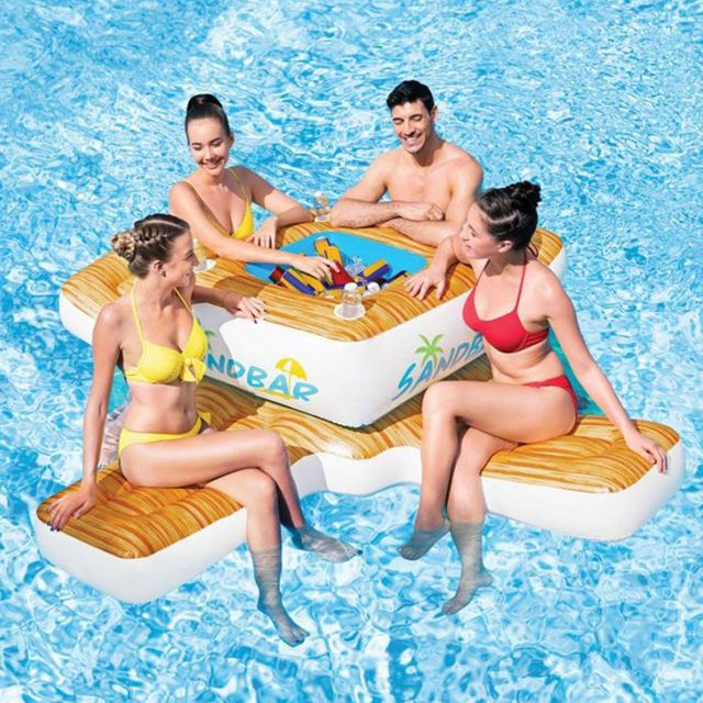 inflatable floating sandbar island