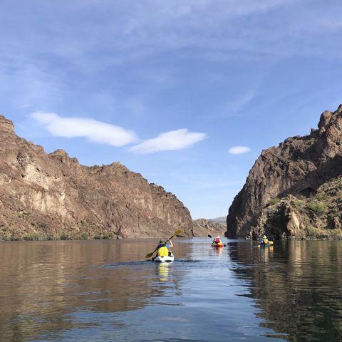 River, Boat, Boating, Kayaking, Rock, Vehicle, Wilderness, Water resources, Waterway, Sky,