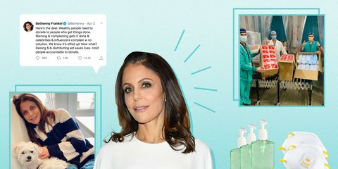 bethenny frankel tweet, donations and at home during the covid crisis