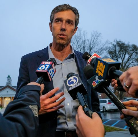 Presidential candidate Beto O'Rourke talks to media about
