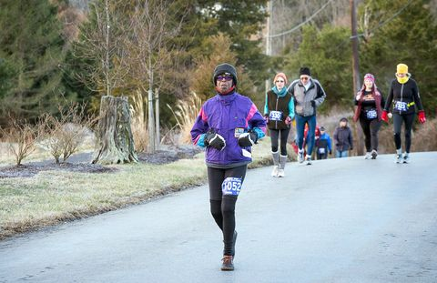 """betty smith running in her running club's """"low key"""" 5 mile country road run"""