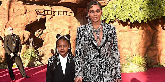 """hollywood, california   july 09 editors note retransmission with alternate crop blue ivy carter l and beyonce knowles carter attend the world premiere of disney's """"the lion king"""" at the dolby theatre on july 09, 2019 in hollywood, california photo by alberto e rodriguezgetty images for disney"""