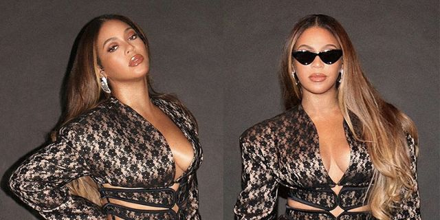 Beyoncé Rocks a Revealing Cut-Out Jacket & Lace Mini Skirt by Christopher Kane