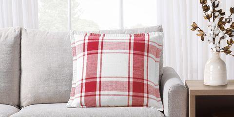 Plaid, Pattern, Tartan, Furniture, Curtain, Cushion, Red, Room, Interior design, Living room,