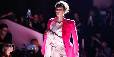 Fashion model, Fashion show, Fashion, Runway, Clothing, Fashion design, Pink, Event, Public event, Model,