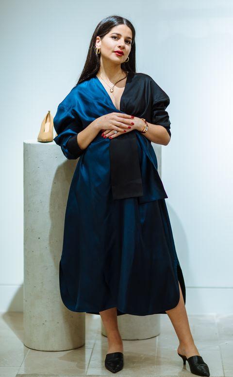 Blue, Clothing, Fashion, Dress, Shoulder, Electric blue, Outerwear, Footwear, Fashion design, Leg,