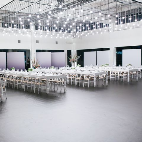 White, Lighting, Architecture, Ceiling, Function hall, Design, Building, Chair, Table, Floor,