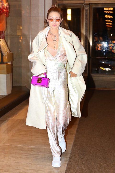 bb6c66e475e Gigi Hadid Wears Giant White Coat to Dinner in NYC - Gigi Hadid ...