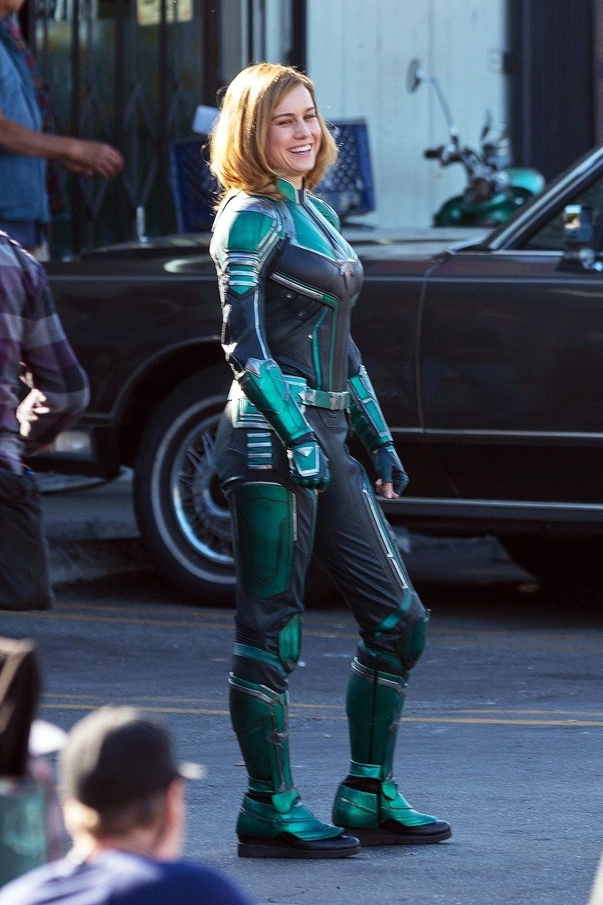 See Brie Larson In Her Captain Marvel Costume First Look At 2019 Captain Marvel Movie The history of captain marvel's costumes. see brie larson in her captain marvel