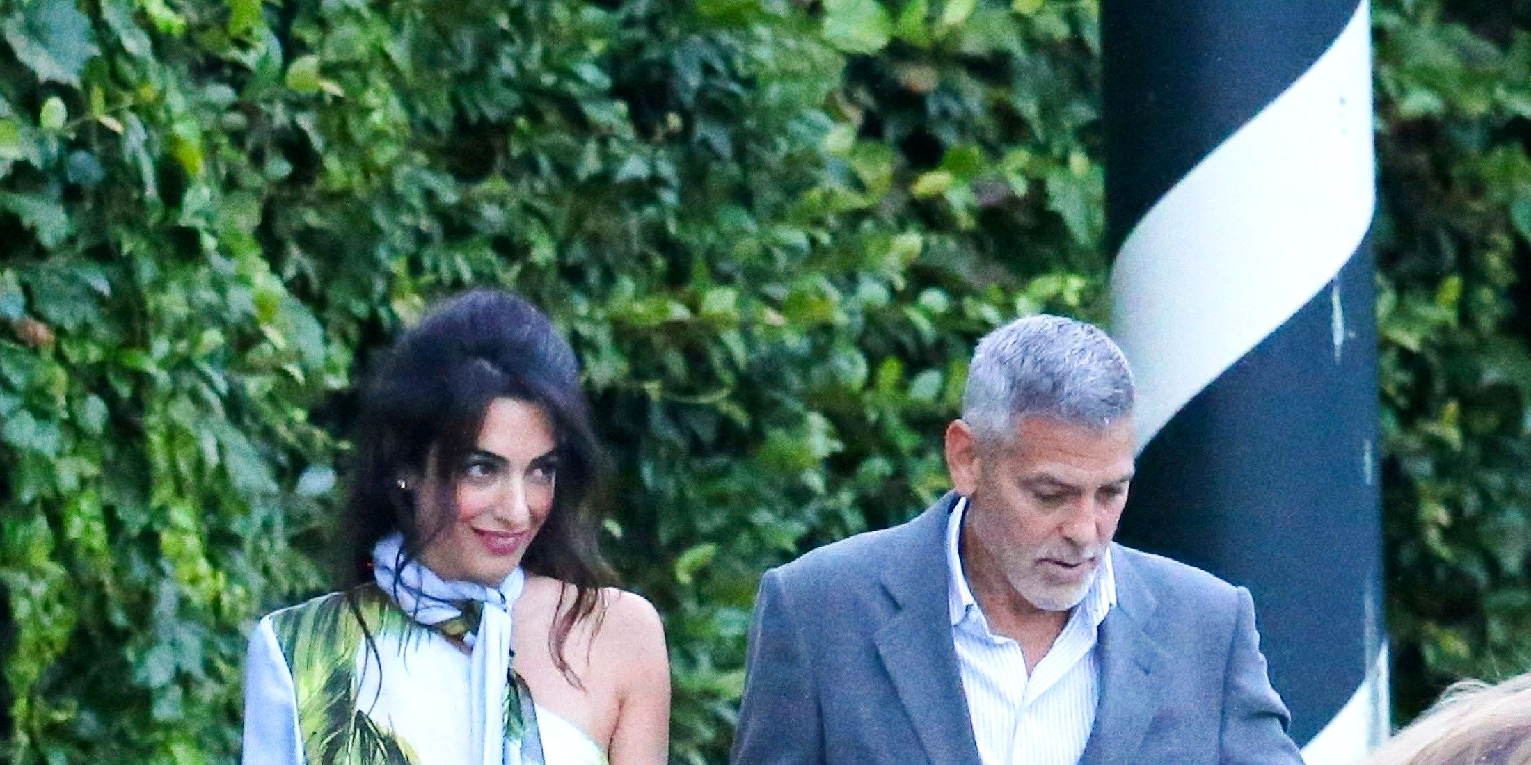 *EXCLUSIVE* George and Amal Clooney take a boat ride with friends to Villa D'Este restaurant
