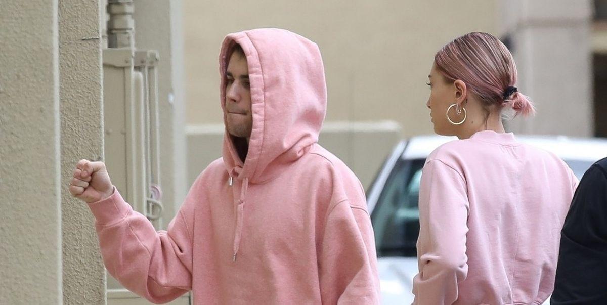 Justin Bieber And Hailey Baldwin Wear Matching Pink