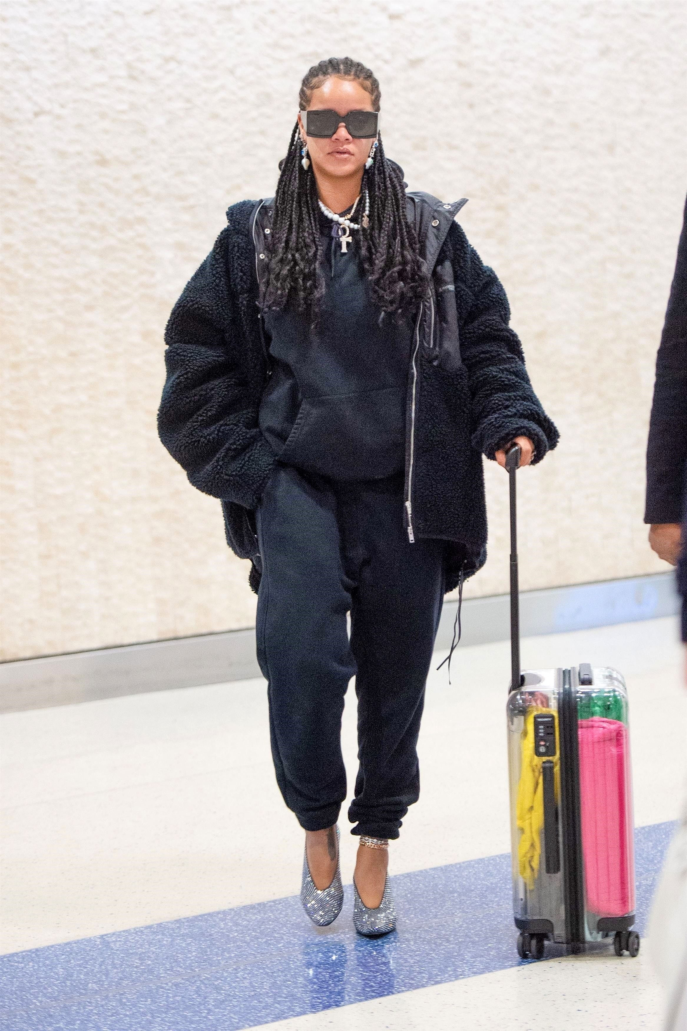 Rihanna Wears Glittery Heels With a Sweatsuit at the Airport