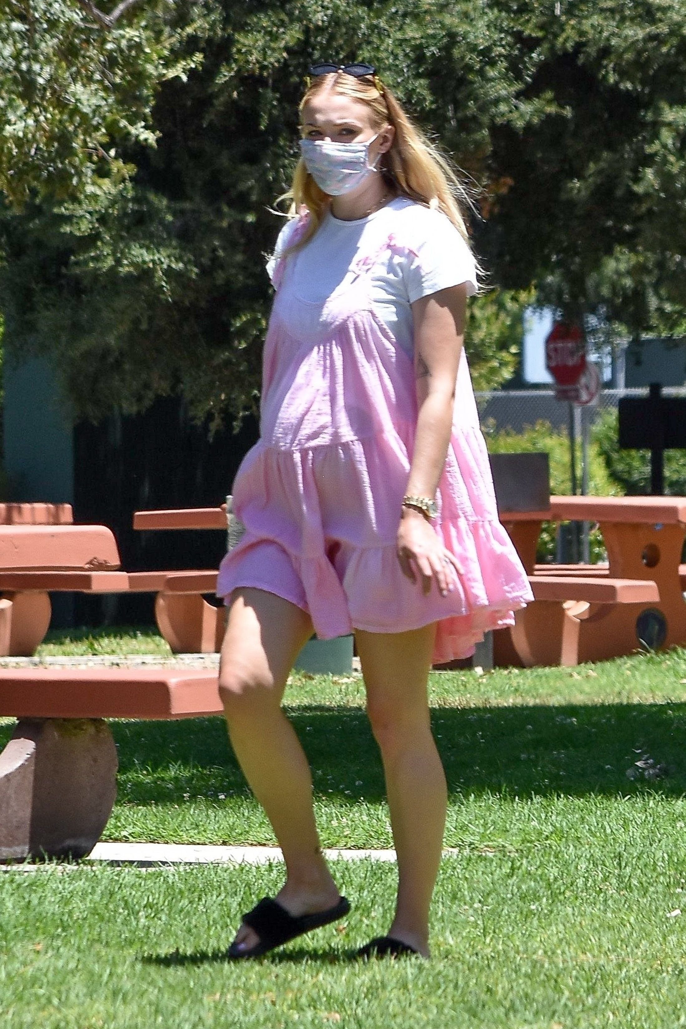 Sophie Turner Wore a Pink, Tiered Babydoll Dress to a Family Picnic