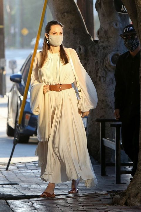 Angelina Jolie Sported a White Pleated Dress by The Row
