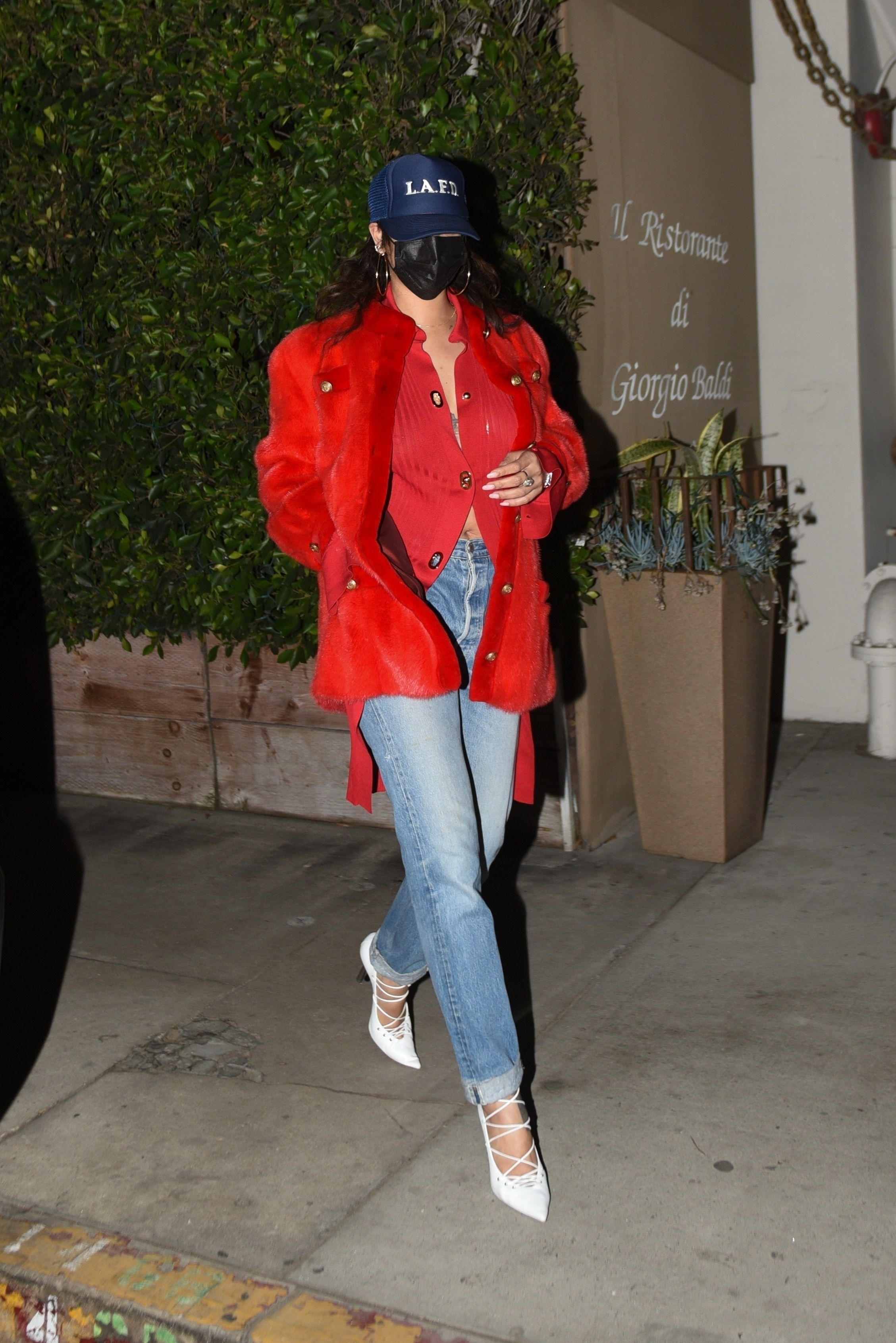 Rihanna Is Barely Recognizable in a Leather Mask, an Open Cardigan, and White Stilettos
