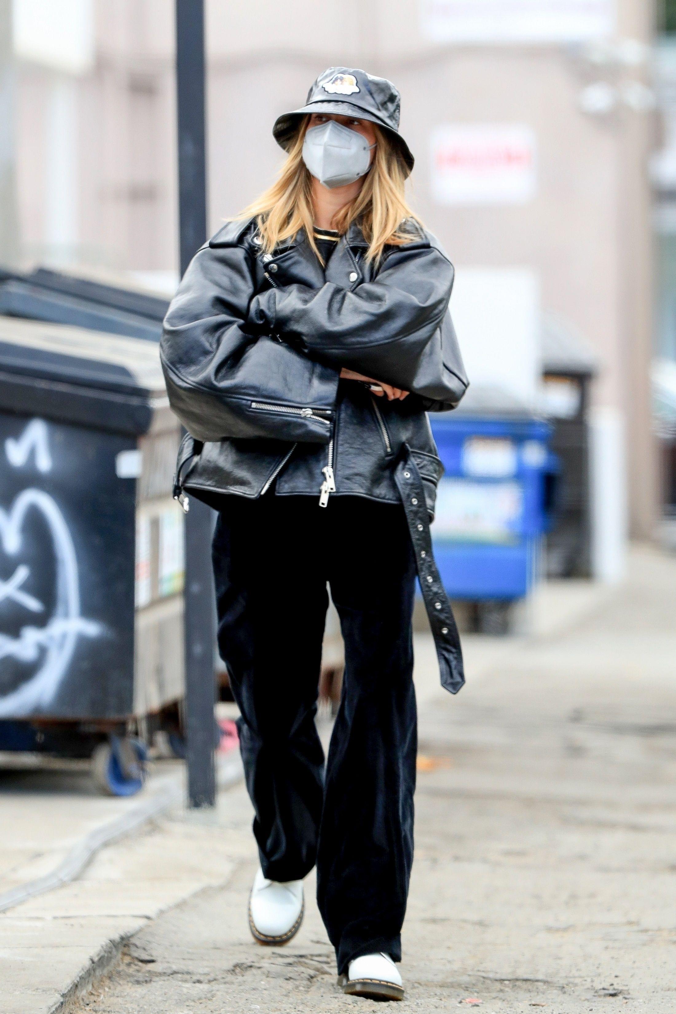 Hailey Bieber Wears Leather Jacket & Bucket Hat in West Hollywood