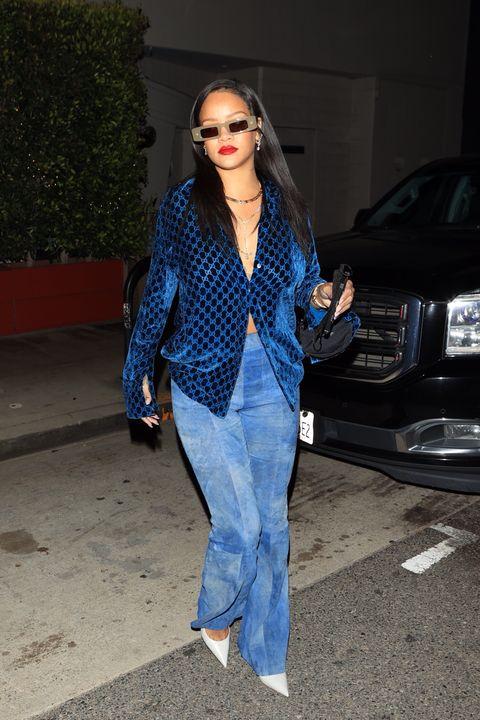 rihanna all blue outfit