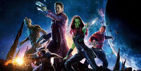 Personajes principales de Guardianes de la Galaxia con Star Lord, Gamora, Rocket, Drax y Groot
