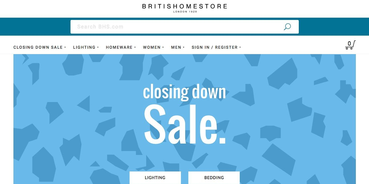 BHS.com website announces closure
