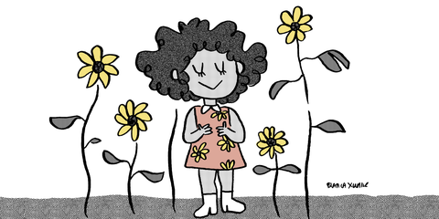 Cartoon, Black-and-white, Line art, Plant, Flower, Child, Illustration, Happy, Herbaceous plant, Smile,