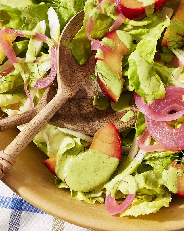 bibb salad with pickled onion, fennel, and plums
