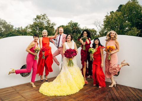 Photograph, Bride, Red, Dress, Gown, Wedding dress, Ceremony, Yellow, Wedding, Bridal clothing,