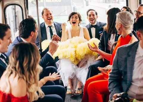 Yellow, Ceremony, Event, Fashion, Wedding, Interaction, Happy, Wedding dress, Bridal clothing, Smile,