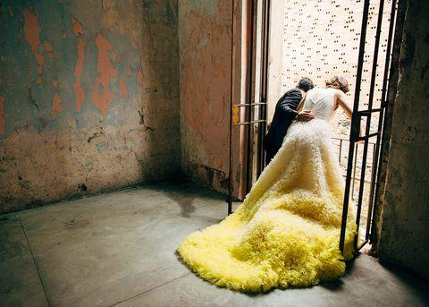 Yellow, Photograph, Dress, Snapshot, Floor, Gown, Flooring, Bride, Photography, Stock photography,