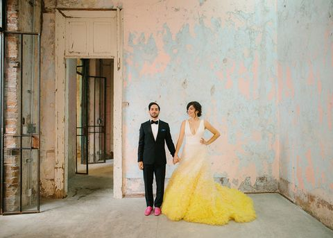 Photograph, Yellow, Bride, Dress, Ceremony, Wedding, Wedding dress, Snapshot, Gown, Fashion,