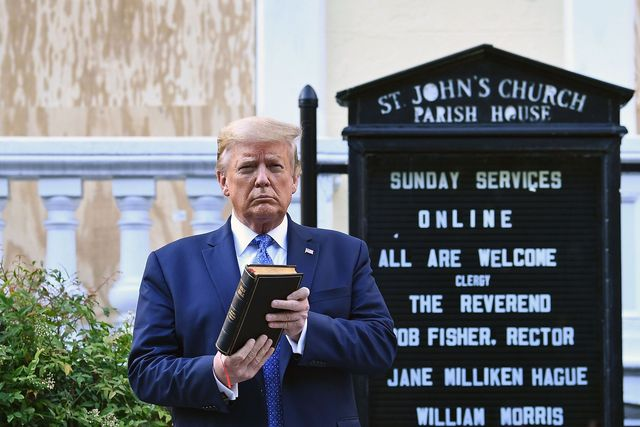 us president donald trump holds up a bible outside of st john's episcopal church across lafayette park in washington, dc on june 1, 2020   us president donald trump was due to make a televised address to the nation on monday after days of anti racism protests against police brutality that have erupted into violencethe white house announced that the president would make remarks imminently after he has been criticized for not publicly addressing in the crisis in recent days photo by brendan smialowski  afp photo by brendan smialowskiafp via getty images