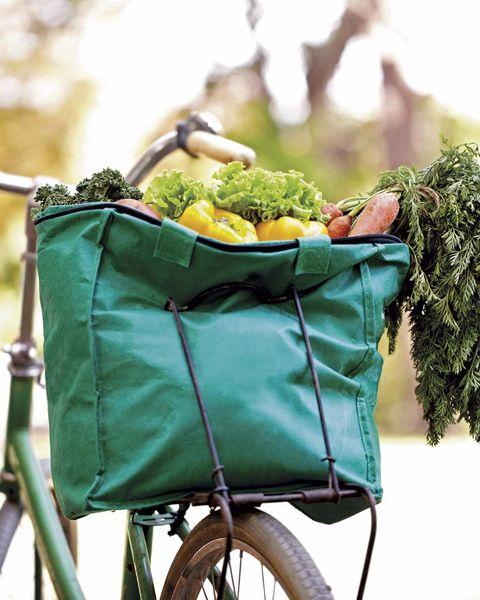 bicicleta con bolsa de verduras