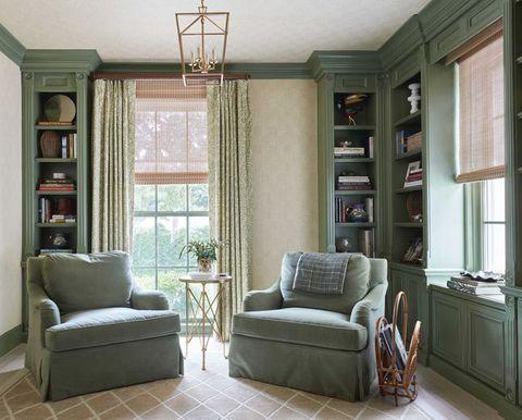 study, green walls, green chairs