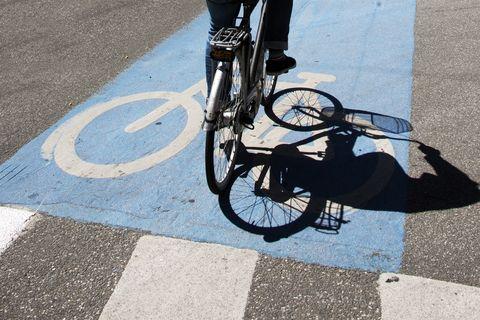 Bicycle path on the road, Copenhagen, Denmark