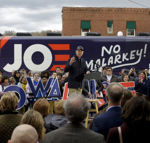 Democratic Presidential Candidate Joe Biden Begins Campaign Bus Tour Through Iowa