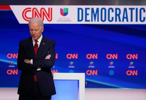 democratic presidential hopeful former us vice president joe biden is seen on stage as he and senator bernie sanders take part in the 11th democratic party 2020 presidential debate in a cnn washington bureau studio in washington, dc on march 15, 2020 photo by mandel ngan  afp photo by mandel nganafp via getty images