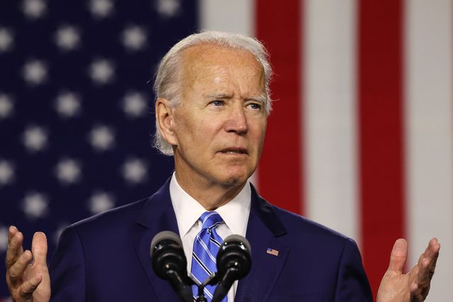 wilmington, delaware   july 14 democratic presidential candidate former vice president joe biden speaks at the chase center july 14, 2020 in wilmington, delaware biden delivered remarks on his campaign's 'build back better' clean energy economic plan photo by chip somodevillagetty images