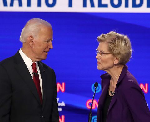 westerville, ohio   october 15 former vice president joe biden and sen elizabeth warren d ma react  during a break at the democratic presidential debate at otterbein university on october 15, 2019 in westerville, ohio a record 12 presidential hopefuls are participating in the debate hosted by cnn and the new york times photo by win mcnameegetty images
