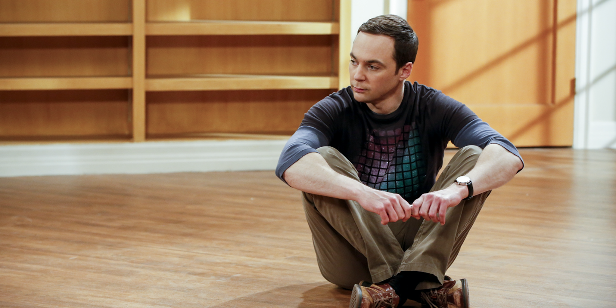 The Big Bang Theory: Sheldon Cooper (Jim Parsons). After Leonard, Sheldon and Wolowitz celebrate the completion of the top secret air force project,