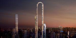 El estudio de arquitectura OIIO propone hacer el edificio más largo del mundo: un rascacielos de 1230 metros en Nueva York que se dobla sobre sí mismo llamado 'The Big Bend'.