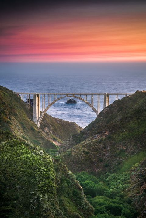 Sky, Bridge, Headland, Coast, Water, Sea, Highland, Cliff, Rock, Morning,