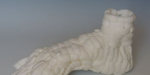 A foot made of packing peanuts