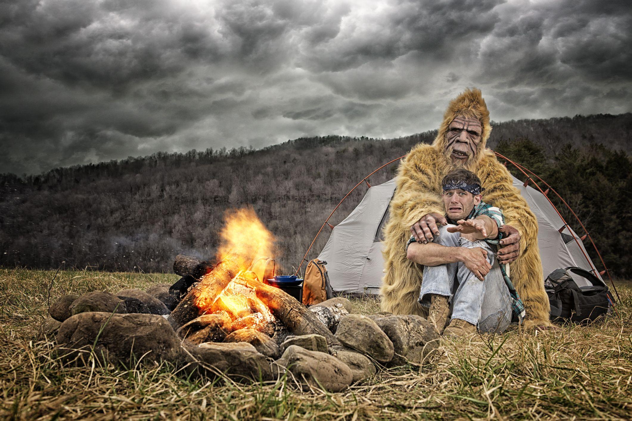 Bigfoot hugs a scared camper