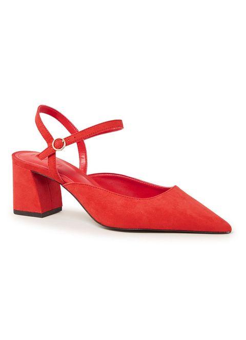 Footwear, Slingback, Red, Shoe, Mary jane, Court shoe, High heels, Leather, Suede, Sandal,